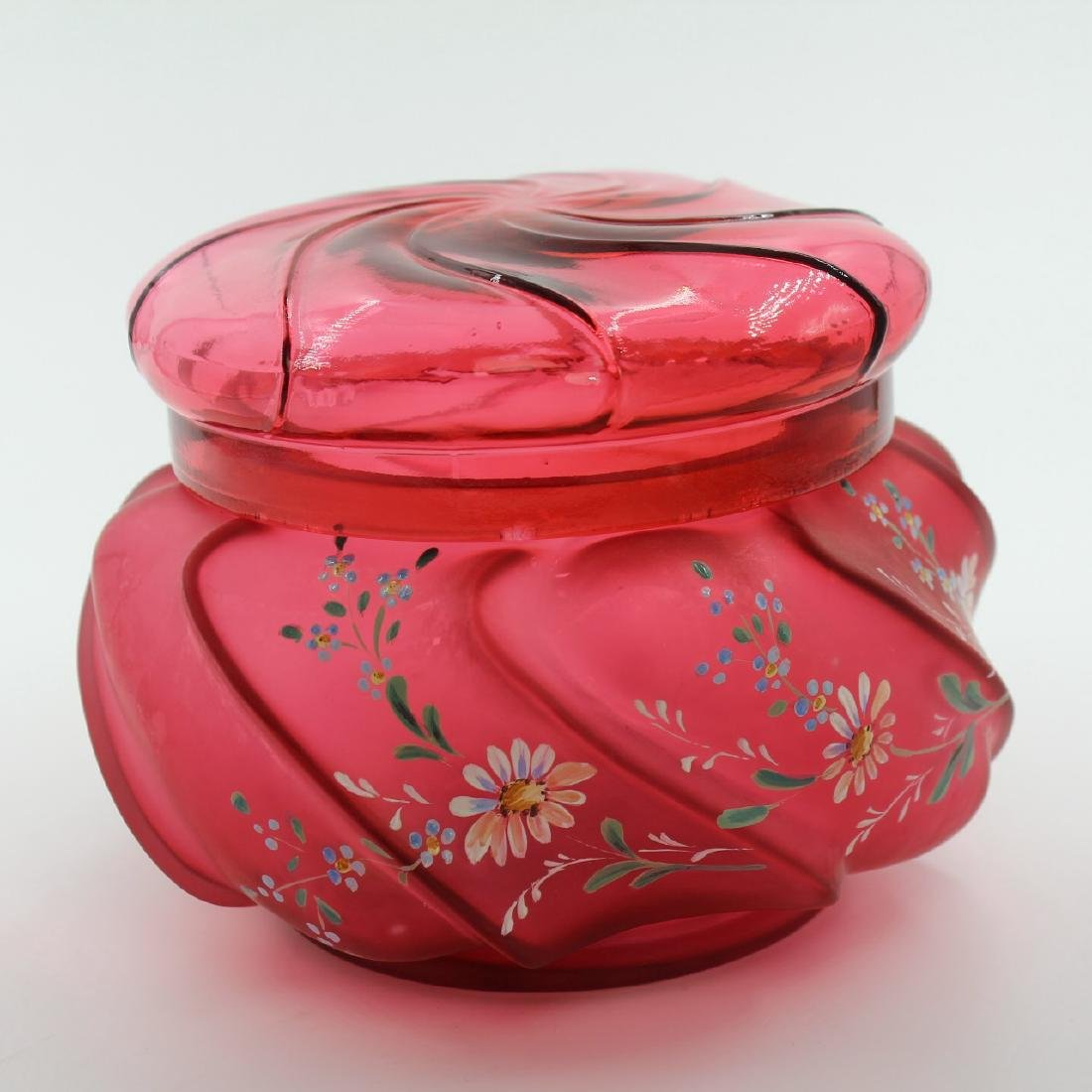 Cranberry Glass Covered Vanity Dish - 4