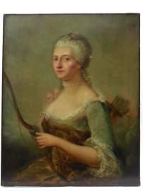 18th Century Rococo Portrait, Oil on Canvas