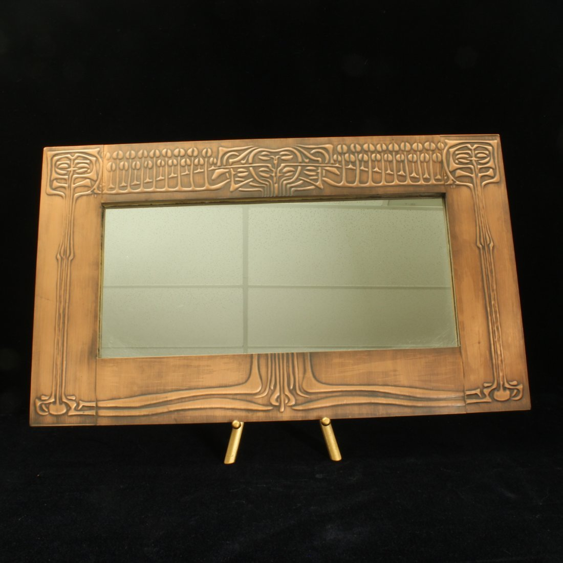 Art Nouveau style Copper framed Mirror - 3