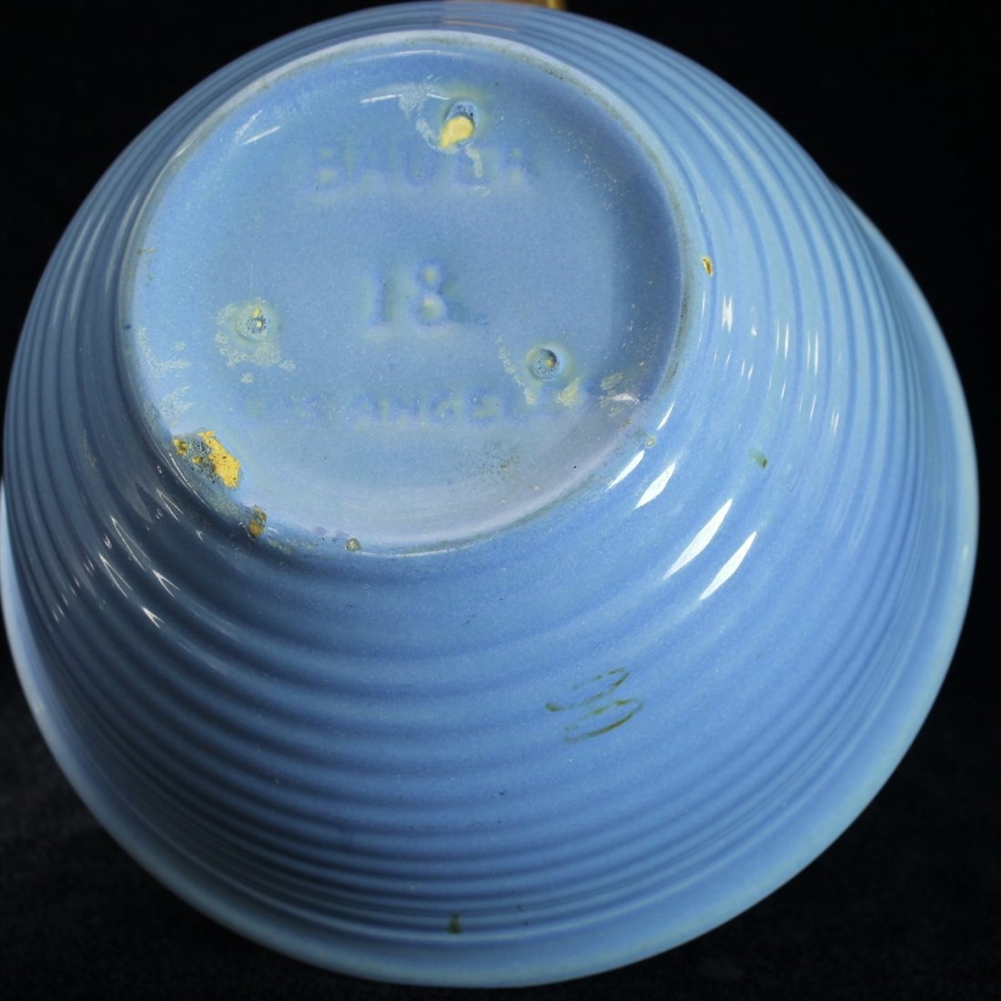 C. 1930 Bauer Pottery Blue Bowl - 3
