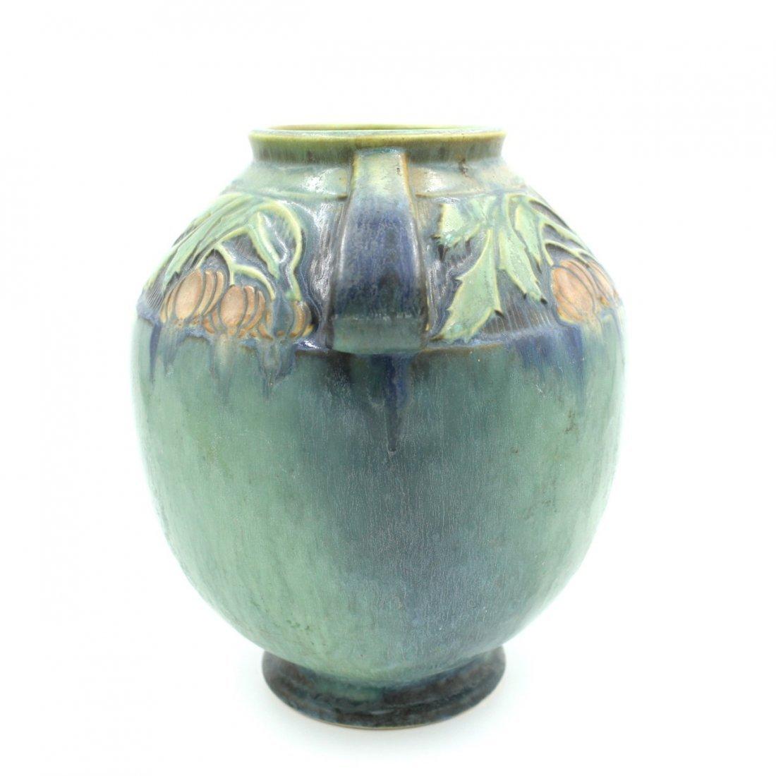 C. 1945 Roseville Baneda Amphora Vase #595-9 - 4