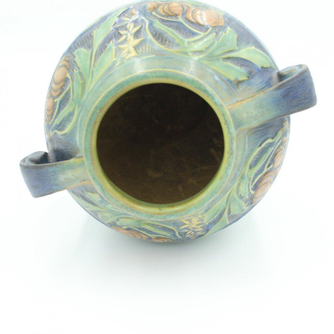 C. 1945 Roseville Baneda Amphora Vase #595-9 - 5