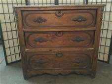 Antique 3 drawer dresser w carved  molded detail on