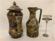 2 vintage floral pattern hand painted Italian ceramic