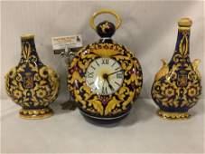 3 hand painted Italian ceramic art pieces, 2 decanters