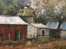 Vintage framed original oil painting of a farm scene.