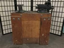Custom small wooden work bench w/ U.S. made Wilton
