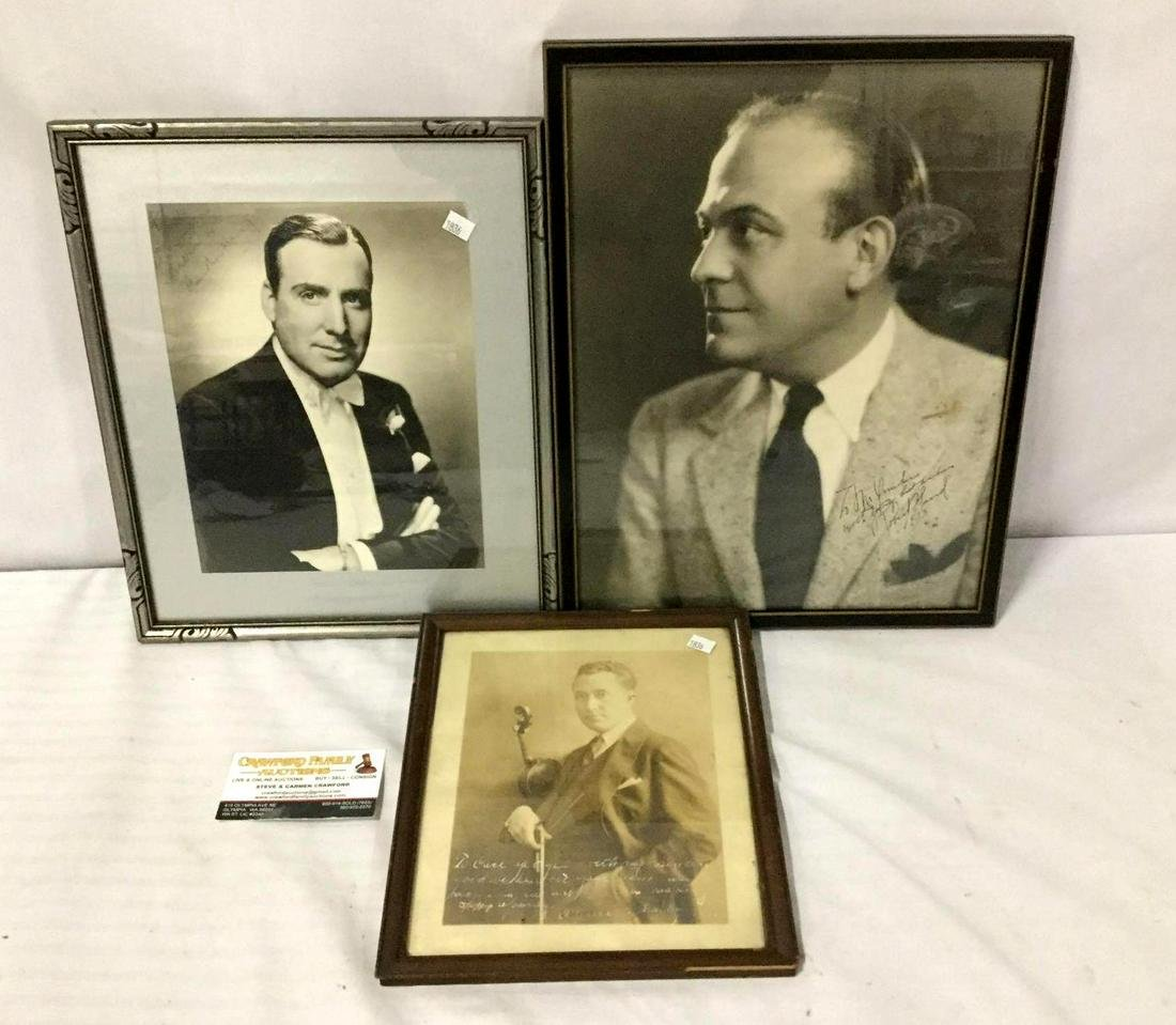 3 autographed/signed antique framed photos of male