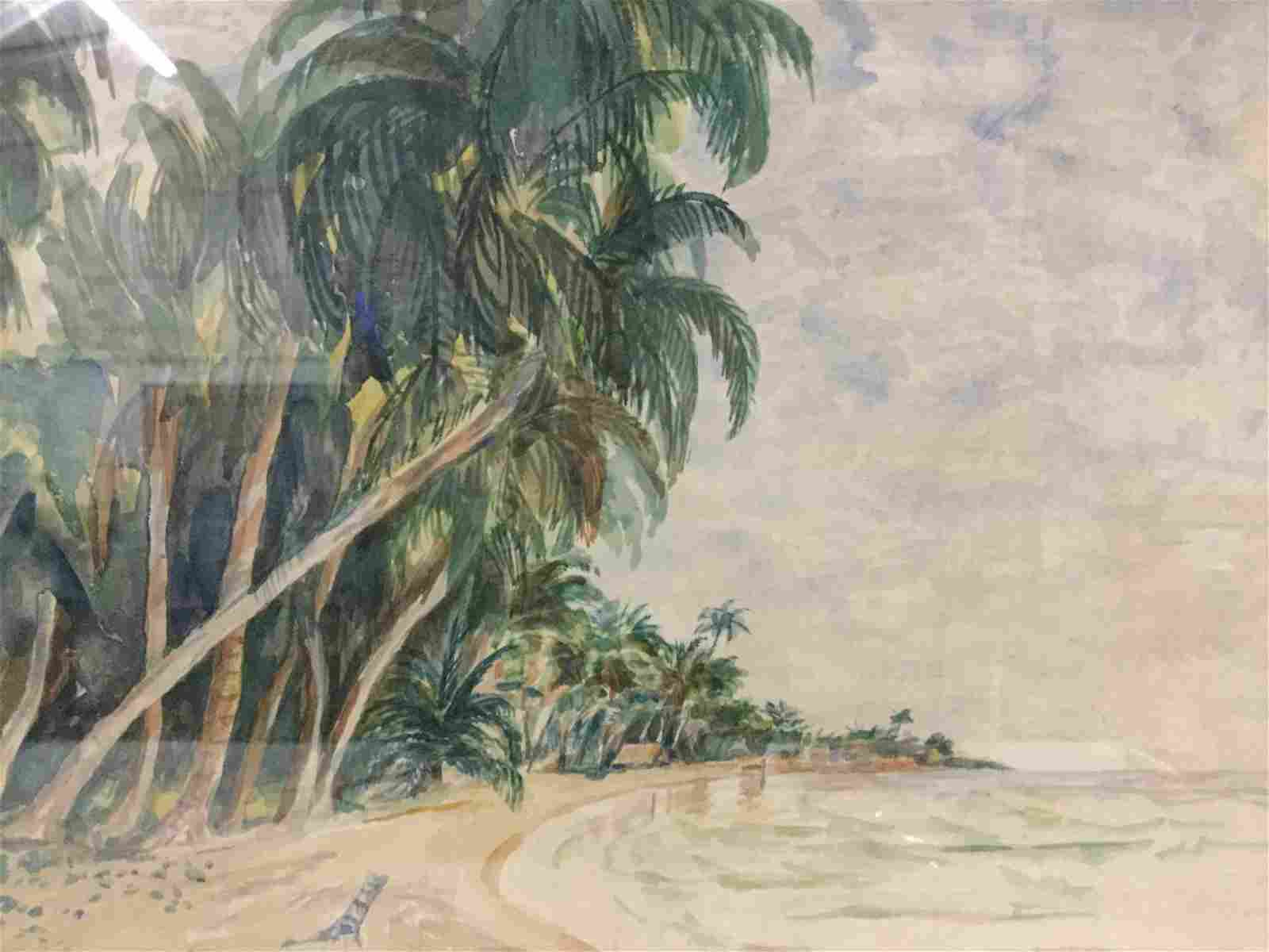 framed original unsigned watercolor of tropical beach