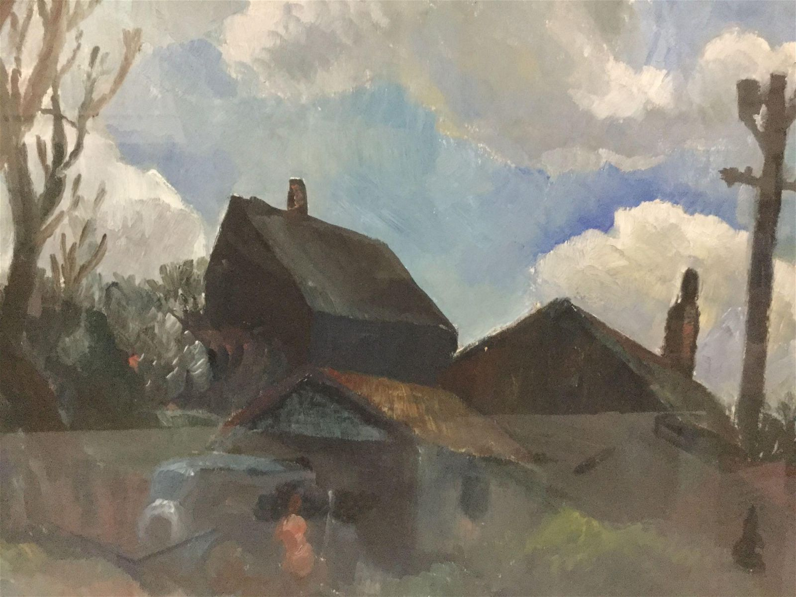 Framed original unsigned oil painting of houses Approx