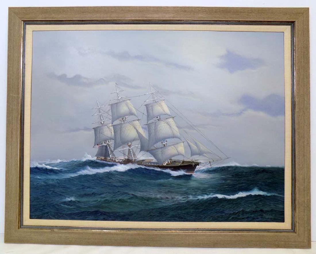 """SIGNED EARL COLLINS """"FLYING CLOUD"""" OIL ON CANVAS"""