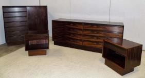 Danish 4pc Rosewood Mid Century Modern Bedroom Set