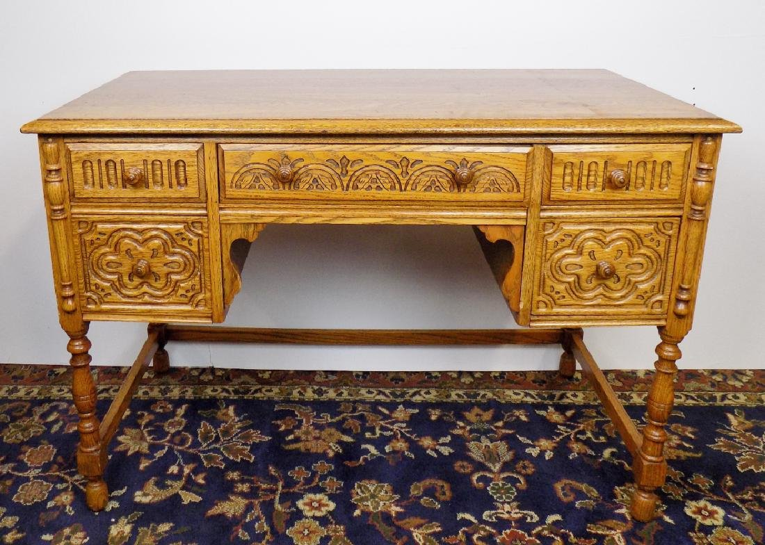 CARVED OAK DESK