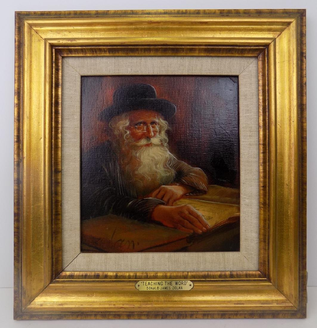 SIGNED DONALD ZOLAN RABBI OIL ON CANVAS