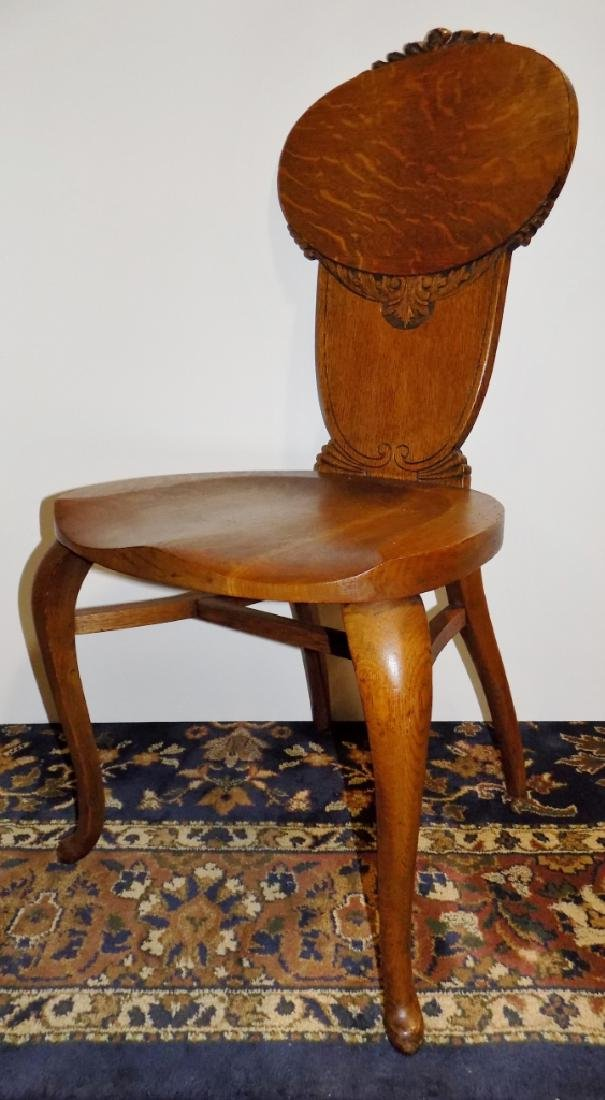 CARVED OAK SIDE CHAIR