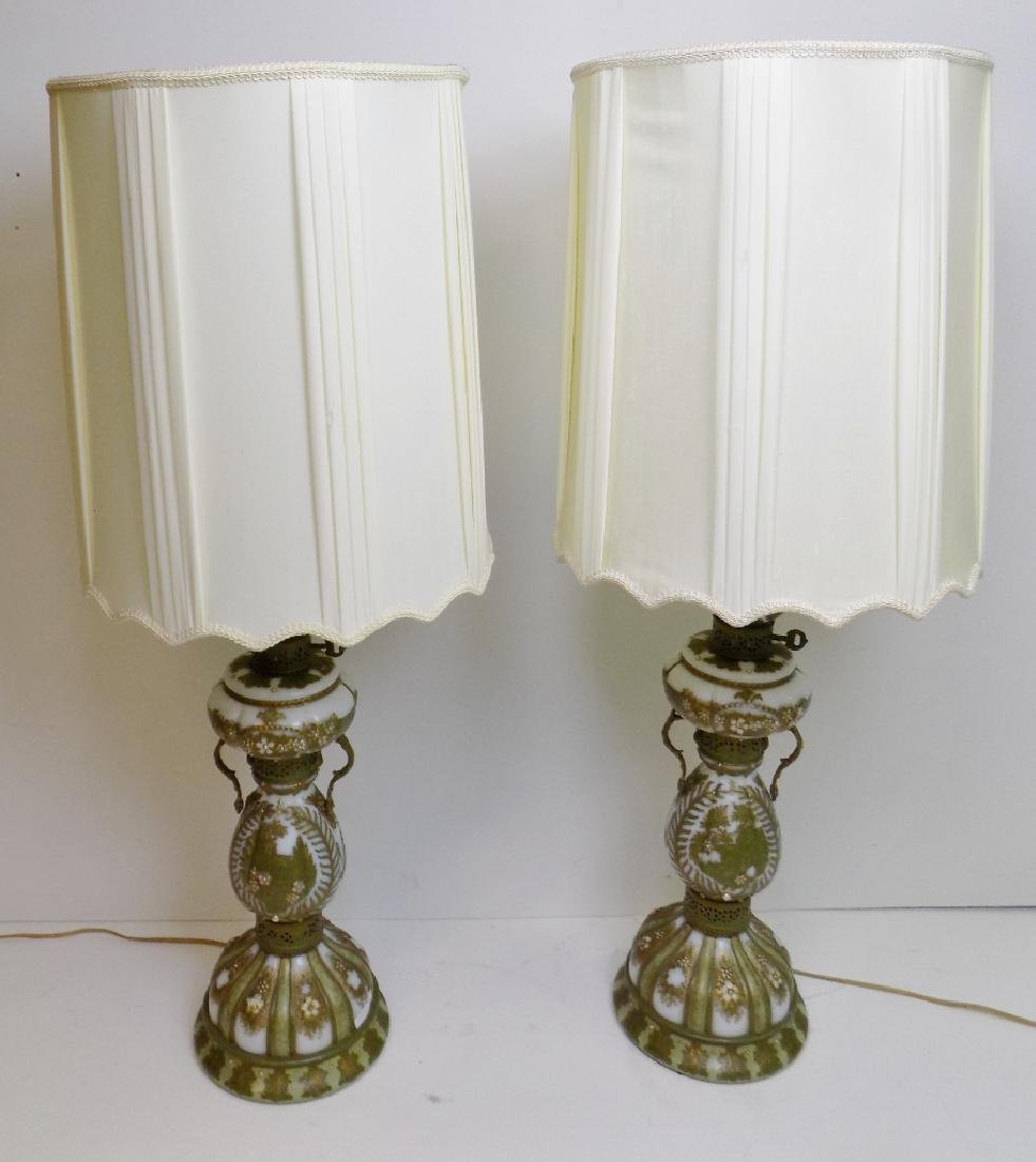 BOHEMIAN OPALINE GLASS LAMPS.