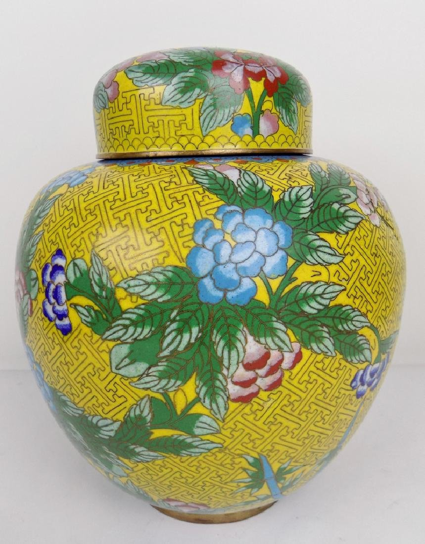 YELLOW CLOISONNE GINGER JAR