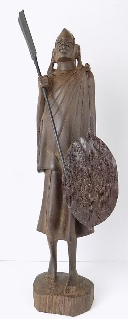 SIGNED AFRICAN MAASAI WARRIOR STATUE WITH SHIELD