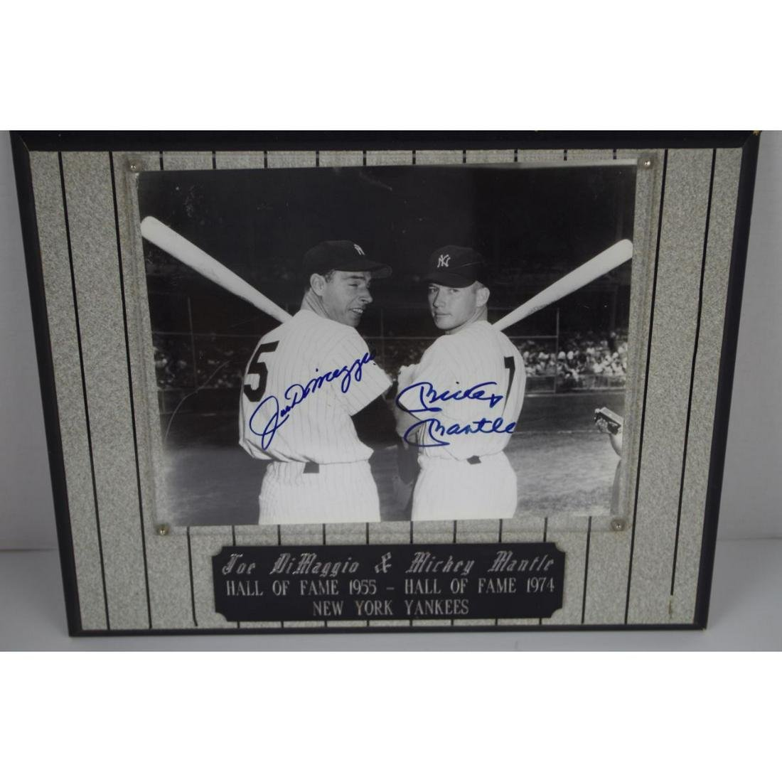 DIMAGGIO AND MANTLE FRAMED DOUBLE AUTOGRAPH