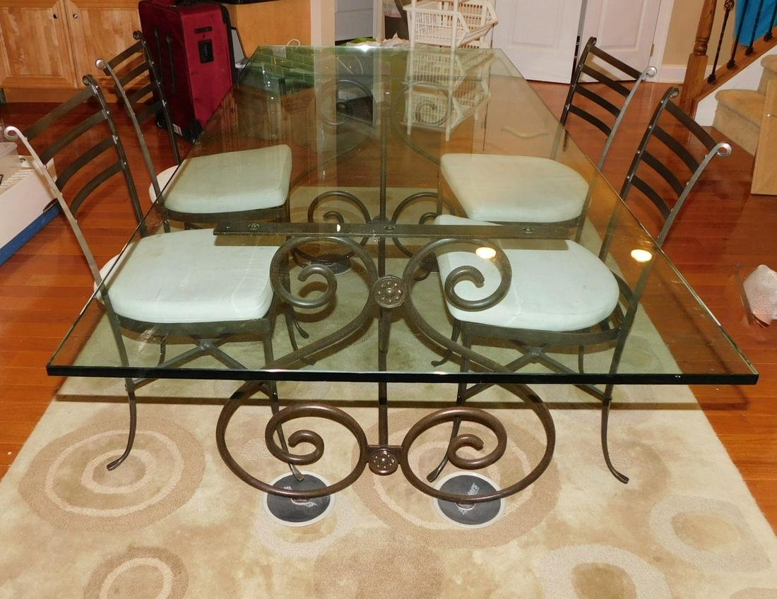 GLASS TOP DINING TABLE SET