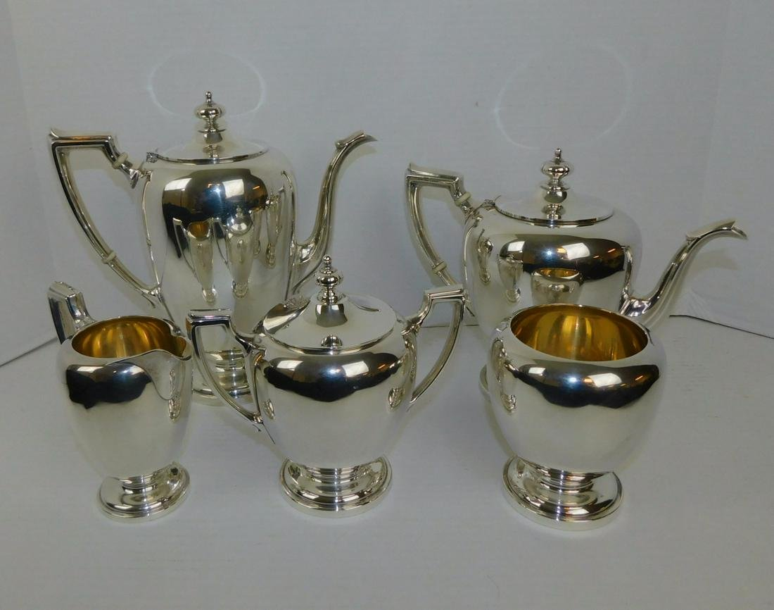 FIVE PIECE STERLING SILVER REED AND BARTON TEA AND