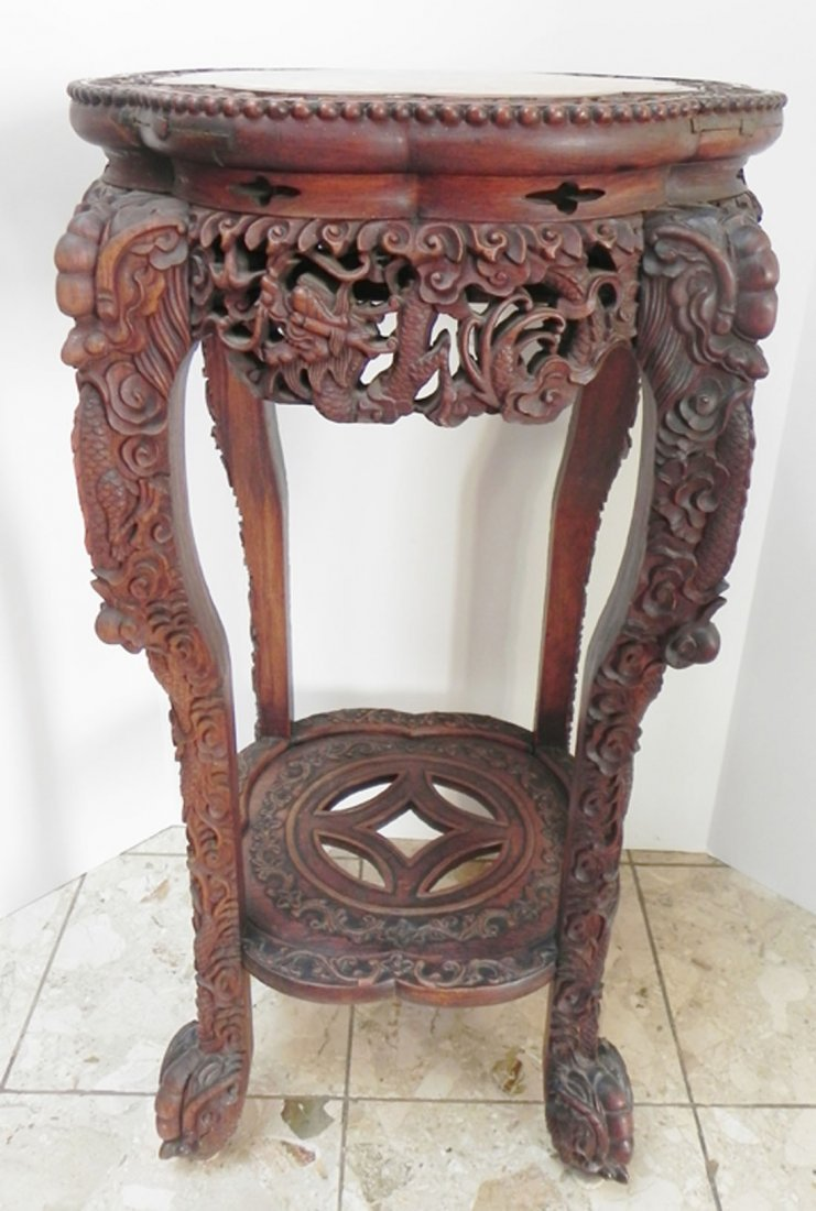 Asian Carved Fern Stand