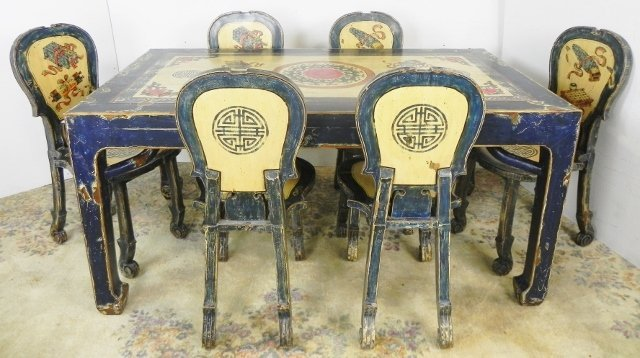 ASIAN LOFT TABLE & 6 CHAIRS