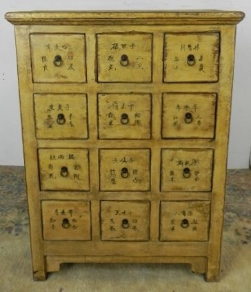 DECORATED REPRO 12 DRAWER APOTHECARY CABINET