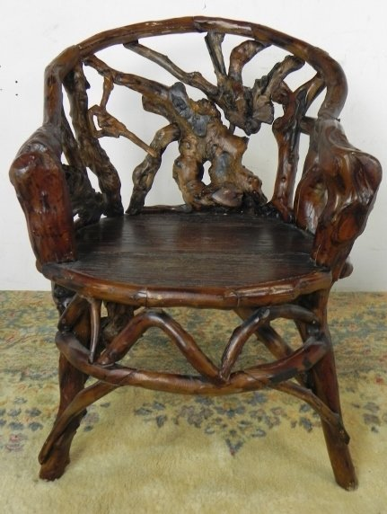 HAND CARVED GROOVY STUFF RUSTIC ARM CHAIR