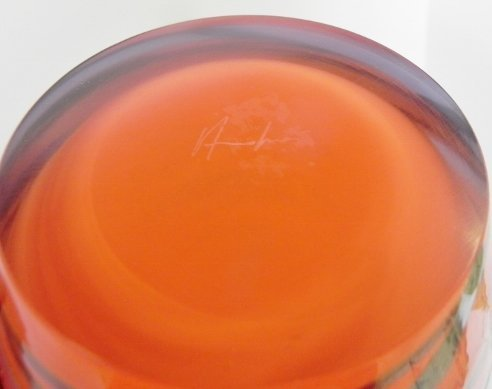 SIGNED ART GLASS VASE GLASS NUVO - 2