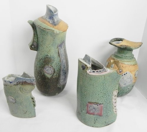 DECORATED POTTERY VASES