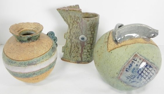 3PC. SIGNED POTTERY