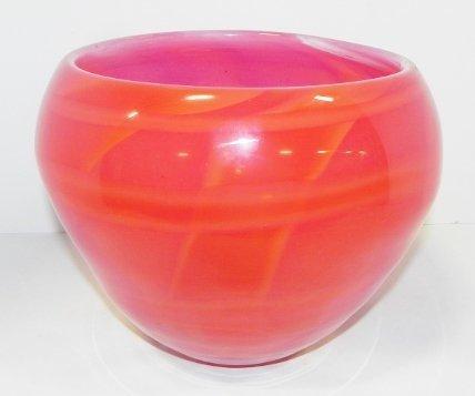 RED ART GLASS VASE - 2