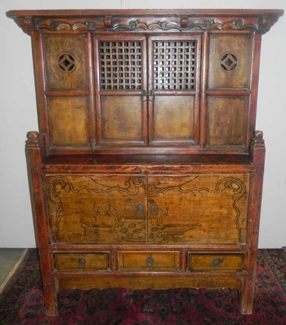 CARVED AND DECORATED ASIAN SIDE CABINET