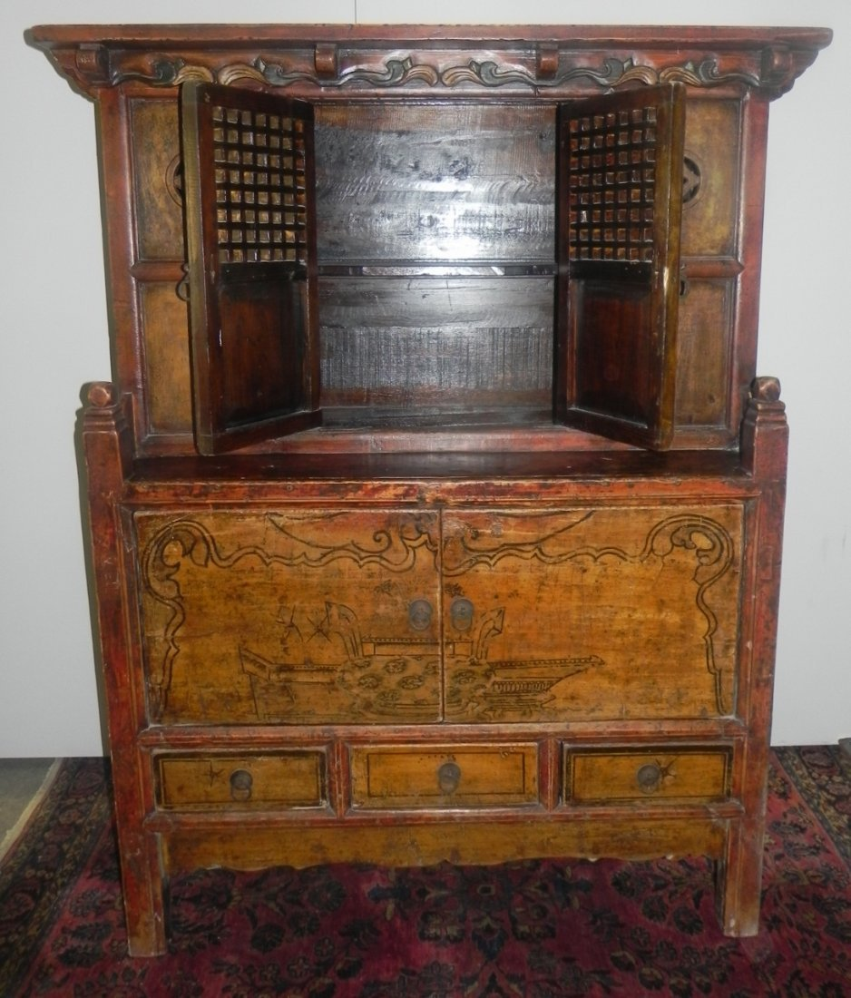 CARVED AND DECORATED ASIAN SIDE CABINET - 2