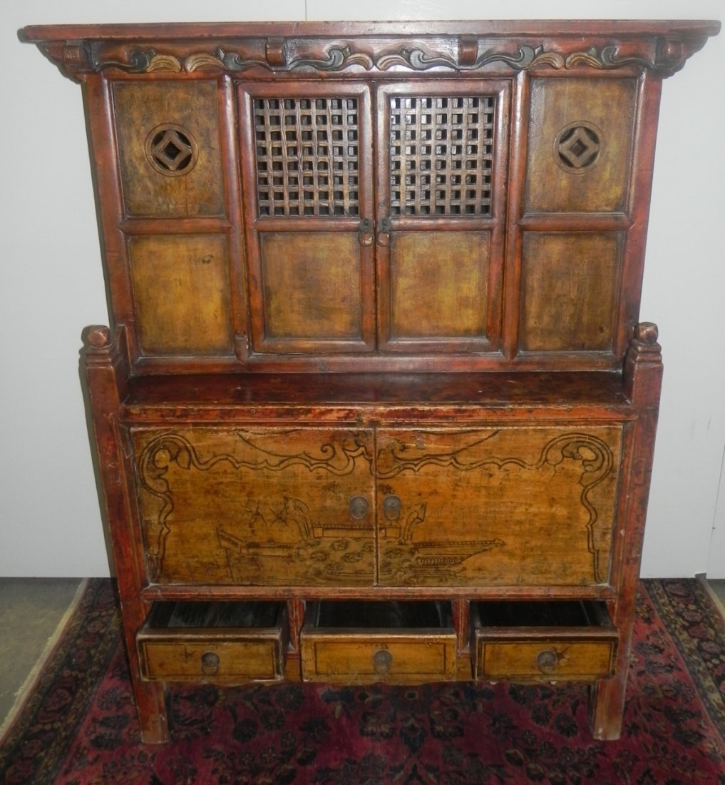 CARVED AND DECORATED ASIAN SIDE CABINET - 4