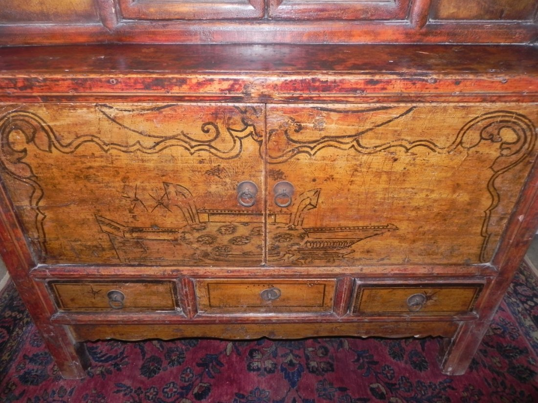 CARVED AND DECORATED ASIAN SIDE CABINET - 5