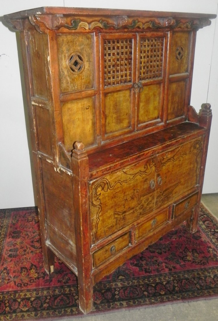 CARVED AND DECORATED ASIAN SIDE CABINET - 6