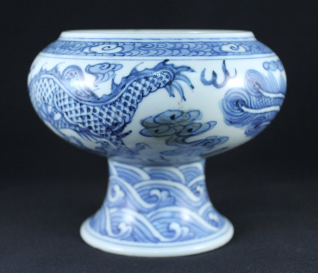 BLUE AND WHITE HIGH FOOT BOWL