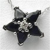 1002: 10KT Sapphire Diamond Star Pendant 0.905 TCW 10.3