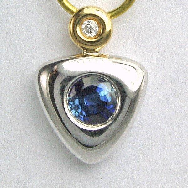 1003: 14KT 0.01ct Diamond & Sapphire Pendant 12mm