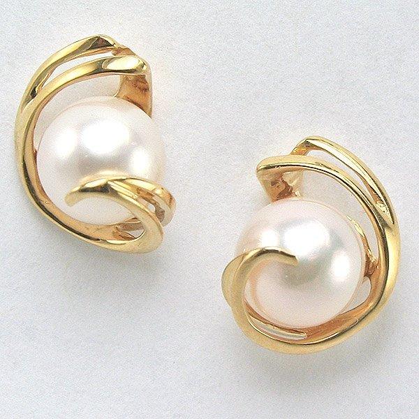 1007: 14KT Stylish 7mm Pearl Post Earrings 12mm