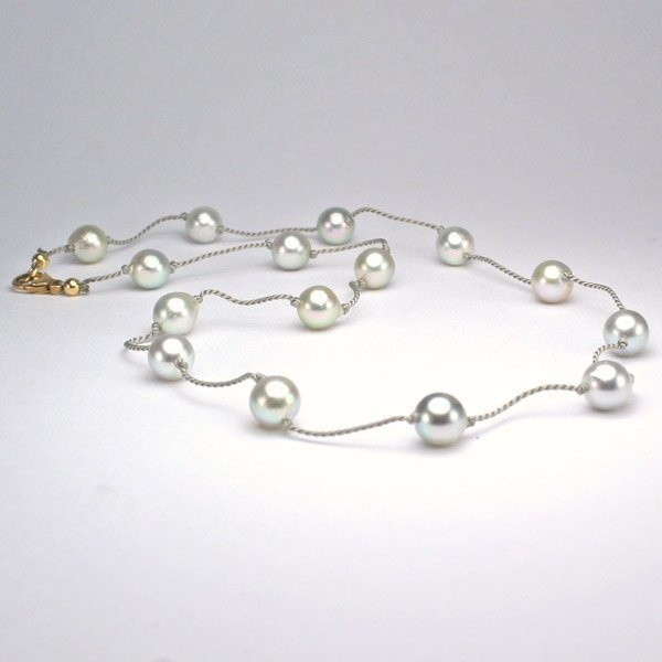 1011: 14KT 5.5-6mm Grey Pearl Necklace 16in