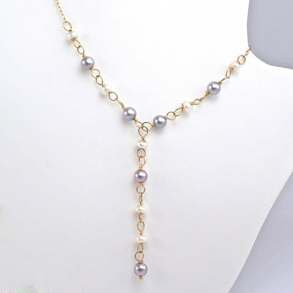 """2015: 14KT 4-5mm Wht & Blk Pearl """"Y"""" Necklace 22in"""