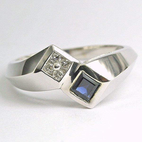 4029: 10KT White Gold Diamond & Sapphire Ring Size 7