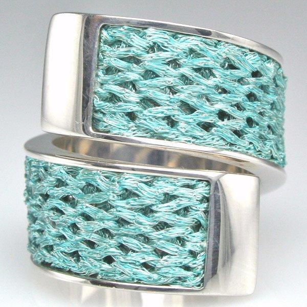 2195: Calgaro Sterling Silver Aqua Silk Ring Sz 7.5
