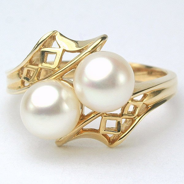 1004: 14KT Double Pearl Ring 13mm Sz 6.5
