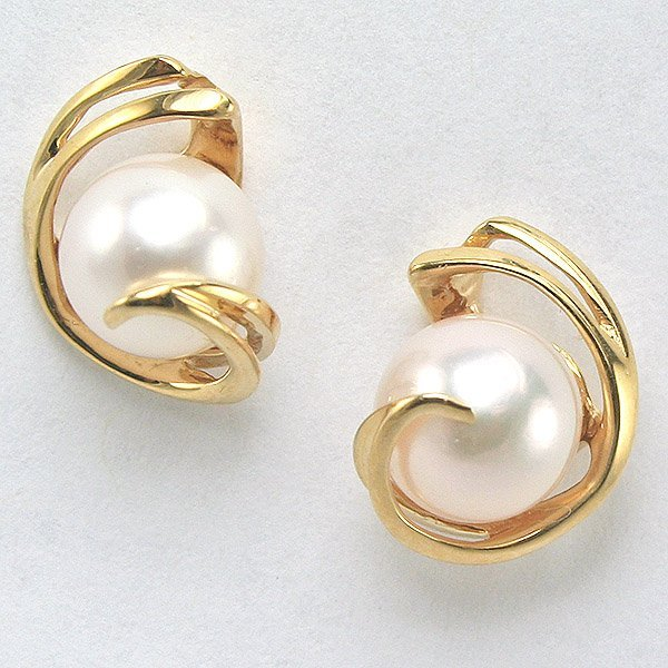 1007: 14KT Stylish 7mm Pearl Post Earrings 12mm