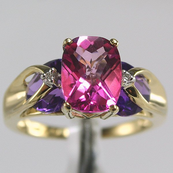 1014: 14KT 1CT Pink Topaz 1.2CT Amethyst Ring Sz 7