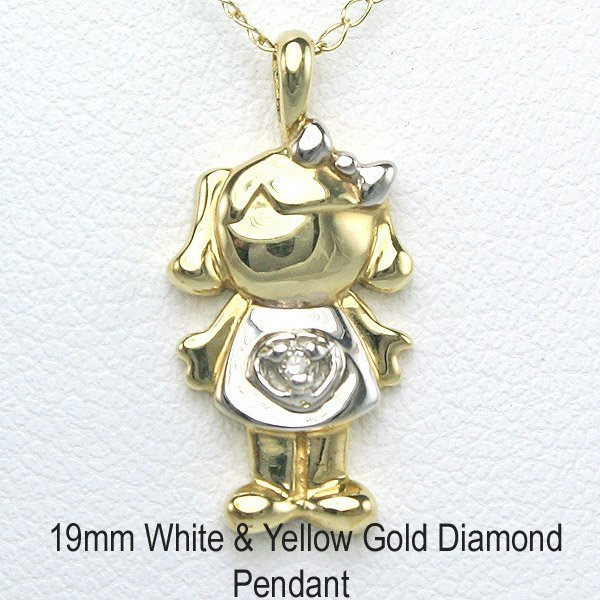 "1019: 10KT Adorable Diamond ""Girl"" Pendant 19mm"